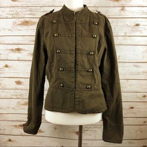 Military Style Jacket With button Details Brown Xl